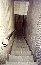 Secret stairwell: these ancient, insanely narrow steps lead from the attic on 23 to the otherwise unaccessable engine room on 22.